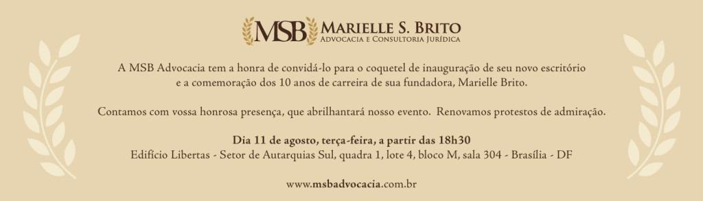 Convite Inauguração do Novo Escritório MSB Advocacia
